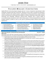 Fake Resume Example by Facilities Manager Resume Example Construction Projects