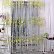 Sunflower Yellow Curtains by 1 2m Sunflower Voile Curtains Panel Door Window Screening Home