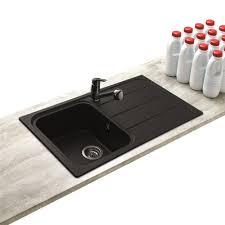 evier cuisine granit noir évier à encastrer oglio 1 bac avec égouttoir coloris noir