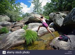 Natural Pools by Young Woman Descending Los Pilones Del Jerte Natural Pools In
