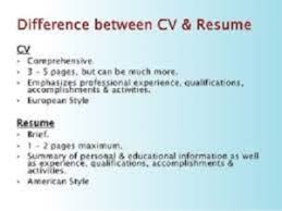 cv vs resume the differences cv or resume difference and curriculum vitae means between this is
