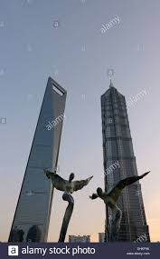 Angel Sculptures Angel Sculptures In Front Of Shanghai World Financial Center And