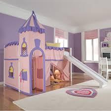 amazon com schoolhouse twin princess loft bed w slide perfect