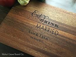 monogramed cutting boards eat drink and be married newlywed gift personalized monogrammed