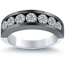 men wedding band 2 10 carat diamond mens wedding band ring 14k black gold
