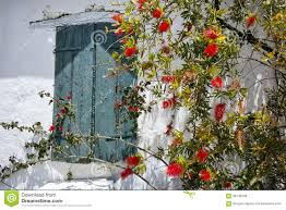 window of the medieval house with flowers zakynthos island stock