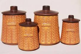 retro kitchen canisters set vintage german ceramano kitchen canisters mod pottery canister