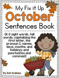 it up sentences book for october capitals end punctuation and