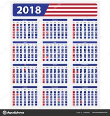 Kalendář 2018 Svátky Kalendář Usa 2018 Státní Svátky Stock Vektor Epapijon 163653036