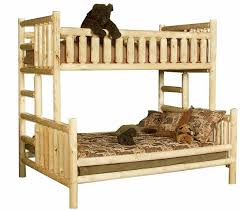 Northwoods Twin Over Queen Pine Log Bunk Bed The Log Furniture Store - Log bunk beds