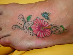 hibiscus with butterfly on ankle toycyte
