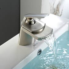 bathroom faucets water widespread waterfall faucetushed nickel