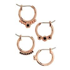 gold erring bloom hoop earring set gold aj