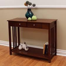 mission style console table hollydale chestnut finished mission style 2 drawer console table
