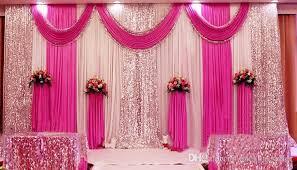 Drape Store 3m 6m Sequins Beads Edge Design Fabric Satin Drape Curtain Pink