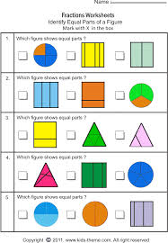 equal parts fractions worksheets