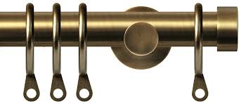Antique Brass Curtain Rods Renaissance 19mm Metal Curtain Pole In Antique Brass With Endcap