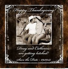 hitched thanksgiving card photo wedding save the date