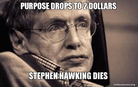 Stephen Hawking Meme - purpose drops to 2 dollars stephen hawking dies make a meme