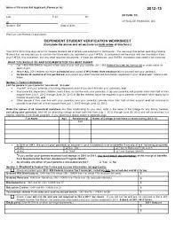 verification worksheet dependent student 28 templates pictures