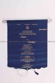 scroll invitation blue satin scroll invitation card