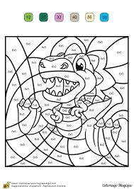 dessin à colorier magique multiplication un tyranosaure rex
