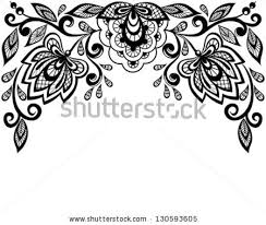 Design Black And White Black And White Lace Flowers And Leaves Isolated On White Floral