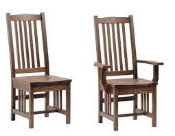 Mission Oak Dining Chairs Amish Mission Classic Oak Dining Chair Set Of 6 2 Arms 4 Sides