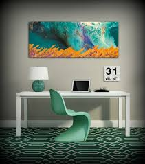 canvas print wall decor large abstract wall art teal and orange