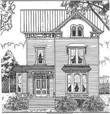 drawing of a victorian house or as they were are called