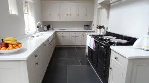 appealing best tile for kitchen with floating wooden cabinets and