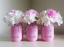 Vase Centerpieces For Baby Shower Pink Distressed Mason Jars Baby Shower Vase Flower