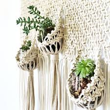 macrame hanging planter triple pouch wall hanging modern