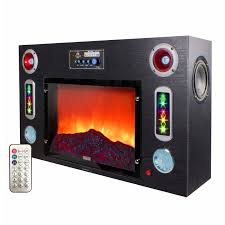 black faux fake led fireplace with bluetooth speaker and effect