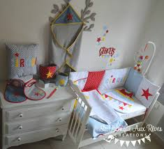 chambre cirque décoration textile linge lit bébé cirque étoiles éléphant