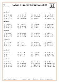 best solutions of linear equations worksheets year 10 for