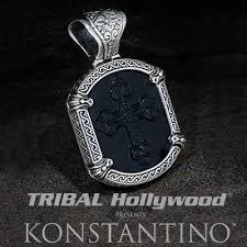 silver necklace black pendant images Konstantino jewelry for men jpg