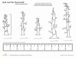 jack and the beanstalk measuring with a ruler worksheet