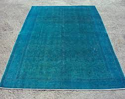 Teal And Green Rug Overdyed Rug Etsy