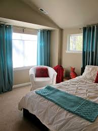 modern turquoise bedroom curtains with feng shui element