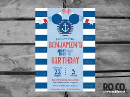 mickey mouse printable birthday invitations nautical mickey mouse printable first birthday party invitation by