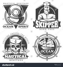 sailor spirit halloween old tattoo sailor naval label set stock vector 549376540
