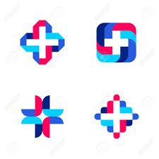 colorful cross abstract medical logo mark templates or icons