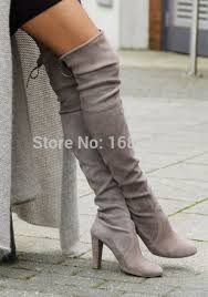 womens boots grey suede suede sobre o joelho botas de salto coxa botas altas para as