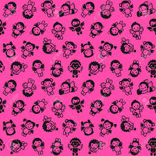 pink wrapping paper cupids set black on pink background wrapping paper royalty free