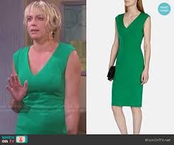 nichole on days of our lives with short haircut wornontv nicole s green v neck dress on days of our lives