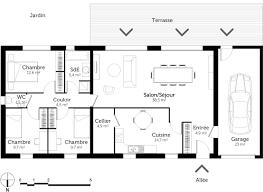 plan de maison 4 chambres plan de maison 4 chambres luxe plan maison plain pied rectangulaire