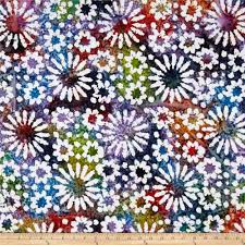 indian batik cascades daisy dark multi discount designer fabric