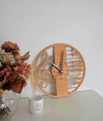 cadeau en bois pour femme clé de sol amant cadeau mur en bois horloge rustique decor