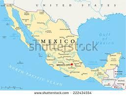 mexico on map mexico political map capital mexico city stock vector 222434554